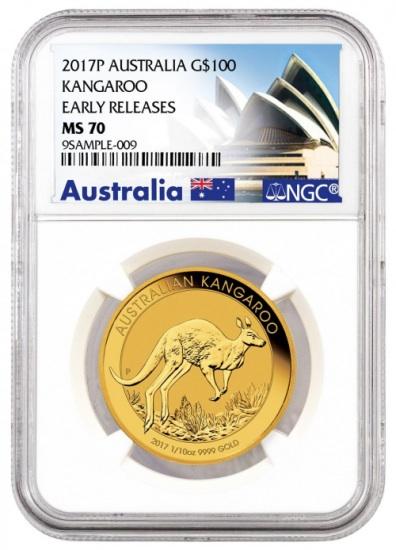 2017 オーストラリア カンガルー金貨1オンス MS-70 NGC (Early Release) オペラハウス