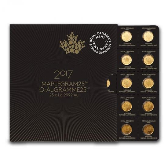 新品未使用 2018 カナダ メイプル金貨 1グラム 25枚セット