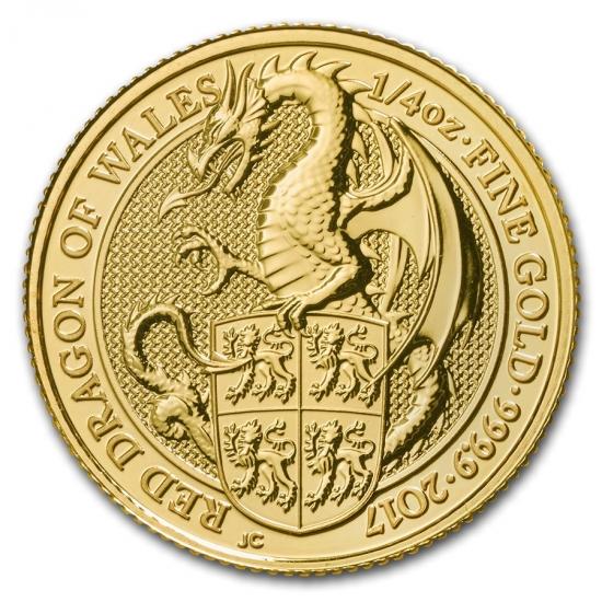 新品未使用 2017 イギリス 1/4オンス 金貨 クィーンズビースト(The Dragonn)(22mm)クリアーケース付き