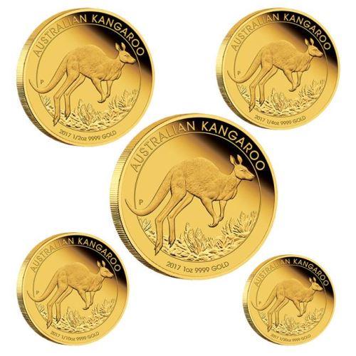 新品未使用 2017 オーストラリア カンガルー金貨 5枚セット プルーフ