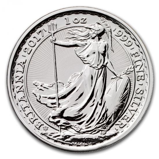 新品未使用 2017 イギリス ブリタニア銀貨1オンス 5枚セット(20th Anniversary)(39mmケース5枚付き)