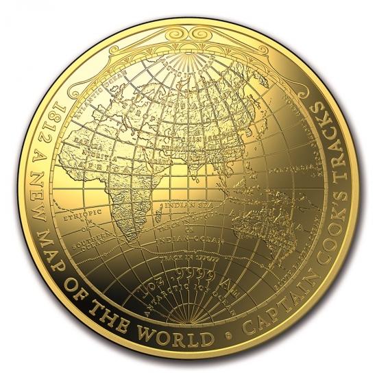 新品未使用 2018 オーストラリア ジェームズ・クックの航海図 A New Map of the World 金貨 1オンス プルーフ