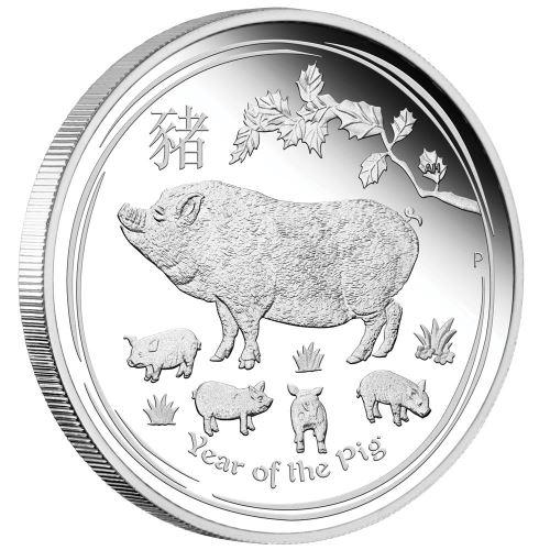2019 オーストラリア 干支・猪 銀貨 1/2オンス プルーフ 箱とクリアケース付き 新品未使用