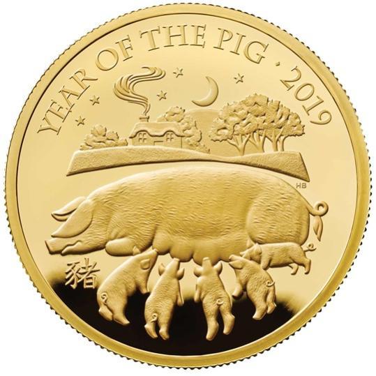 2019 イギリス 干支:亥年 金貨 1オンス プルーフ 箱とクリアケース付き 新品未使用