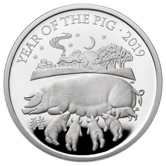 2019 イギリス 干支:亥年 銀貨 1オンス プルーフ 箱とクリアケース付き 新品未使用