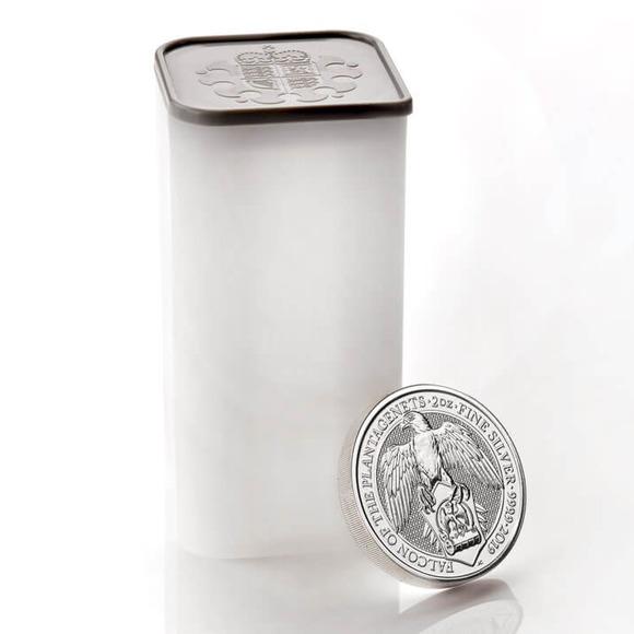 2019 イギリス クィーンズビースト:プランタジネット家の隼 銀貨 2オンス 10枚セット コインチューブ付き 新品未使用