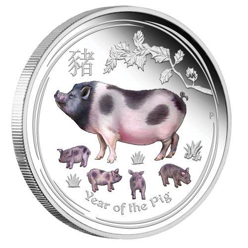2019 オーストラリア 干支:亥年 彩色銀貨 1オンス  プルーフ 箱とクリアケース付き 新品未使用