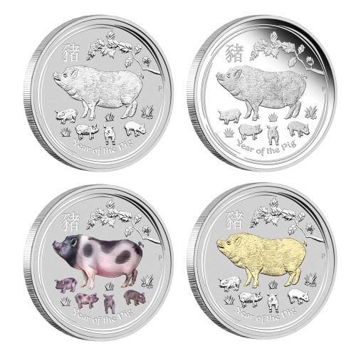 2019 オーストラリア 干支:亥年 銀貨4枚セット 1オンス  箱とクリアケース付き 新品未使用