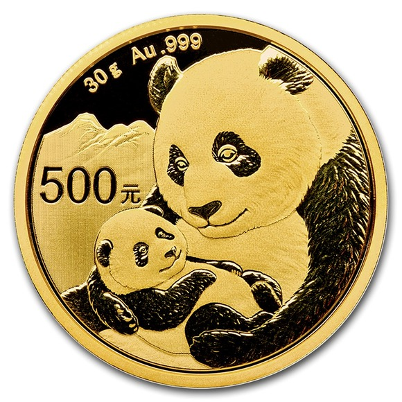 2019 中国 パンダ 金貨 30グラム 500元 真空パック入り 新品未使用