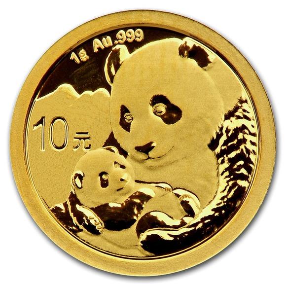2019 中国 パンダ 金貨 1グラム 10元 真空パック入り 新品未使用