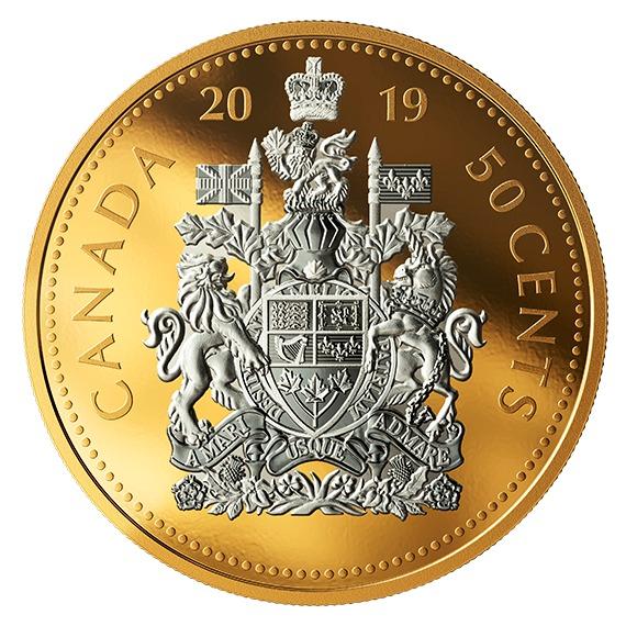 2019 カナダ 大型コインシリーズ:カナダ国章50セント 銀貨 5オンス プルーフ 箱とクリアケース付き 新品未使用