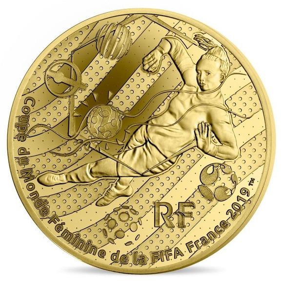 2019 フランス FIFA女子ワールドカップ:ゴールキーパー 金貨 5オンス プルーフ 箱とクリアケース付き 新品未使用