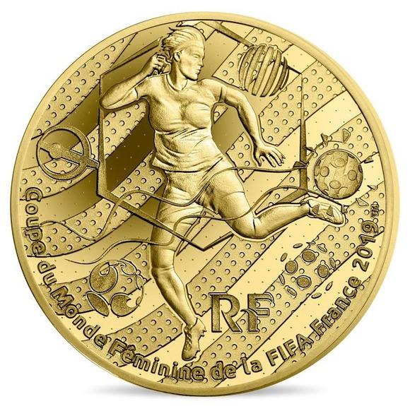 2019 フランス FIFA女子ワールドカップ:トリックプレー 金貨 1/4オンス プルーフ 箱とクリアケース付き 新品未使用