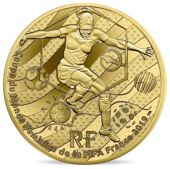 2019 フランス FIFA女子ワールドカップ:ドリブル 金貨 1/4オンス プルーフ 箱とクリアケース付き 新品未使用