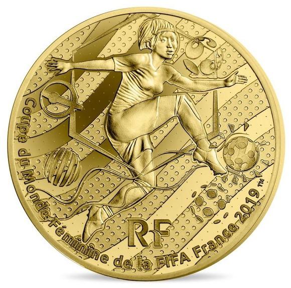2019 フランス FIFA女子ワールドカップ:ボレーシュート 金貨 1/4オンス プルーフ 箱とクリアケース付き 新品未使用