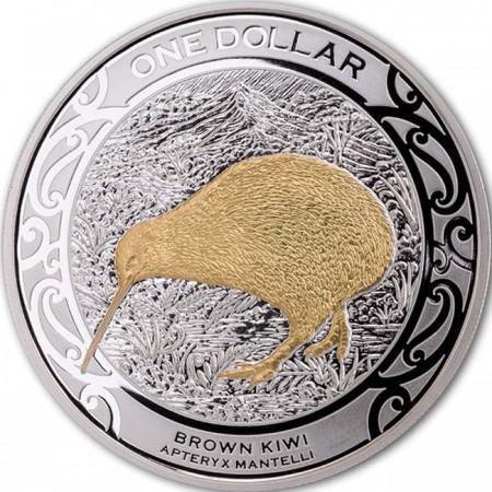 2019 ニュージーランド ブラウン・キーウィ 銀貨 1オンス プルーフ 箱とクリアケース付き 新品未使用