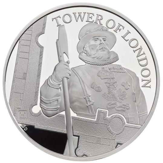 2019 イギリス ヨーマン・ウォーダー 5ポンド銀貨 ピエフォー(厚手型) プルーフ 箱とクリアケース付き 新品未使用