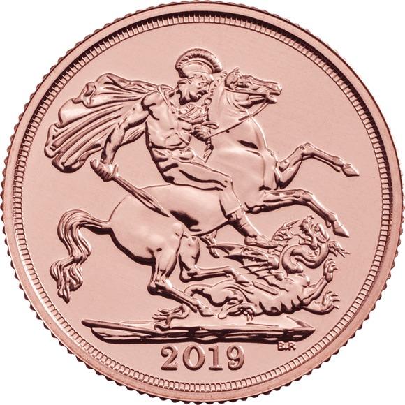2019 イギリス ソブリン金貨 22.5mmクリアケース付き 新品未使用