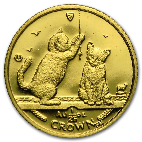 2001 マン島キャット金貨 ソマリア キャット 1/25オンス  クリアーケース付き