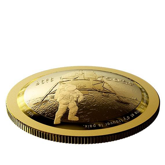 2019 カナダ アポロ11号月面着陸50周年記念 金貨 1/2オンス プルーフ 箱とクリアケース付き 新品未使用