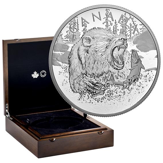 2019 カナダ 上位捕食者たち:グリズリー 銀貨 1/2キロ プルーフ 箱とクリアケース付き 新品未使用