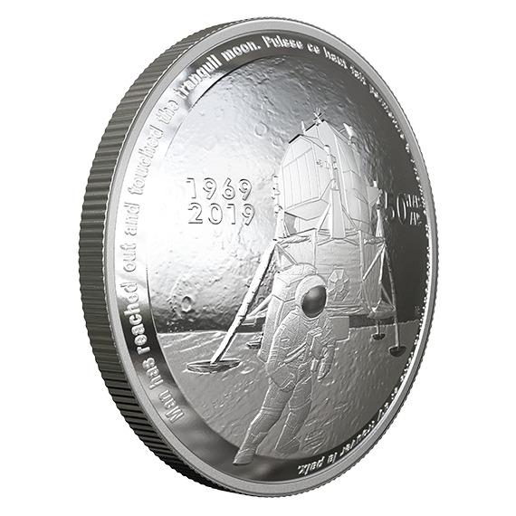 2019 カナダ アポロ11号月面着陸50周年記念 銀貨 1オンス プルーフ 箱とクリアケース付き 新品未使用