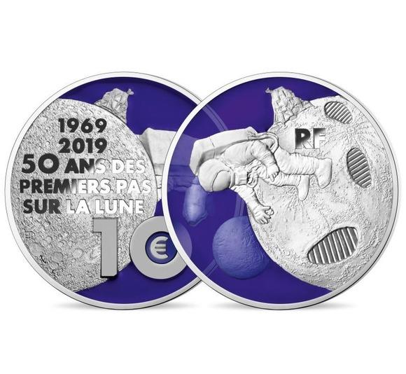 2019 フランス 月面への第一歩 10ユーロ 銀貨 プルーフ 箱とクリアケース付き 新品未使用