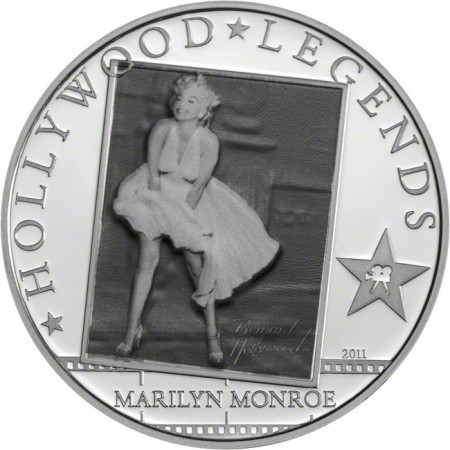 2011 クック諸島 ハリウッドの伝説的人物:マリリン・モンロー 銀貨 プルーフ 箱とクリアケース付き 新品未使用