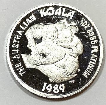 新品未使用 1989 オーストラリア プラチナ 1/4オンス クリアケース付き