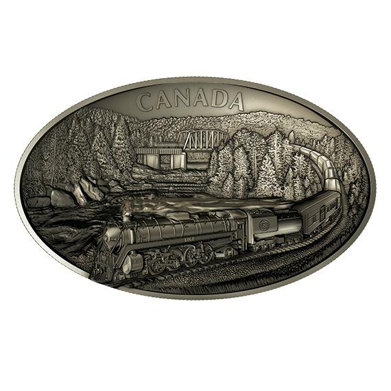 2019 カナダ カナディアン ナショナル鉄道100周年 楕円型銀貨 1キロ ウルトラハイレリーフ アンティーク風 箱とクリアケース付き 新品未使用 正規品,限定セール