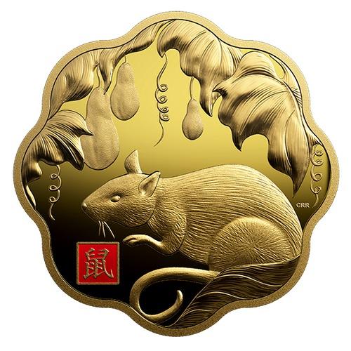 2020 カナダ 干支:子年 蓮型金貨 1キロ プルーフ 箱とクリアケース付き 新品未使用