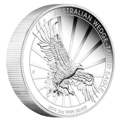 2019 オーストラリア オナガイヌワシ 銀貨 2オンス ピエフォー(厚手型) プルーフ 箱とクリアケース付き 新品未使用
