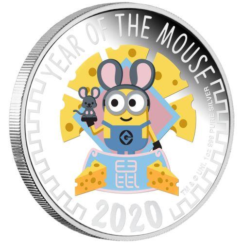 2020 ニウエ 干支:子年ミニオン 銀貨 1オンス プルーフ ギフトカードパッケージ付き 新品未使用