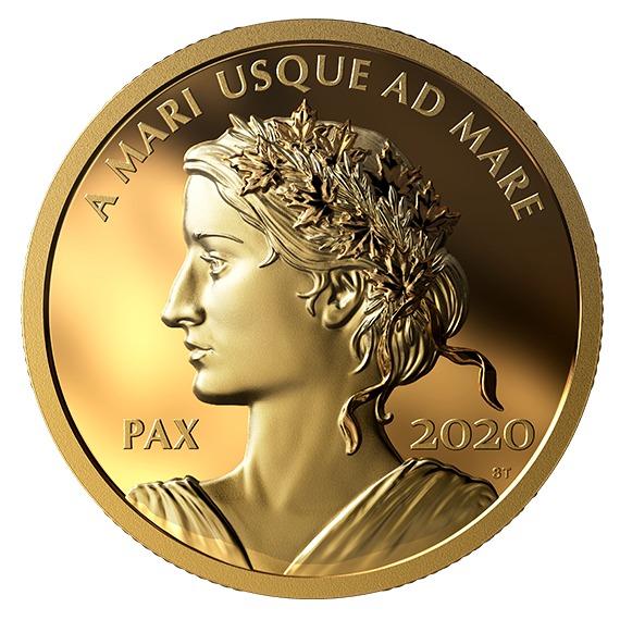 2020 カナダ 平和のドル 99.999%金貨 1オンス プルーフ 箱とクリアケース付き 新品未使用