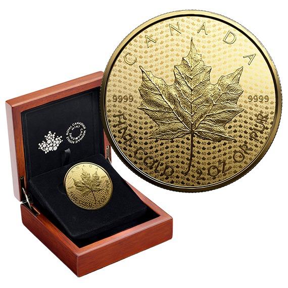 2019 カナダ メイプルリーフ金貨40周年記念 金貨 2オンス プルーフ 箱とクリアケース付き 新品未使用