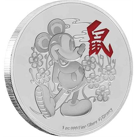 2020 ニウエ ディズニー干支:子年 銀貨 1オンス プルーフ 箱とクリアケース付き 新品未使用