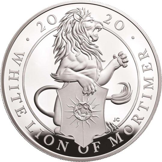 2020 イギリス クィーンズビースト:モーティマーのホワイトライオン 銀貨 5オンス プルーフ 箱とクリアケース付き 新品未使用