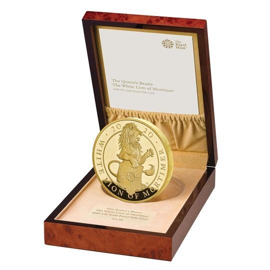 2020 イギリス クィーンズビースト:モーティマーのホワイトライオン 金貨 1キロ プルーフ 箱とクリアケース付き 新品未使用
