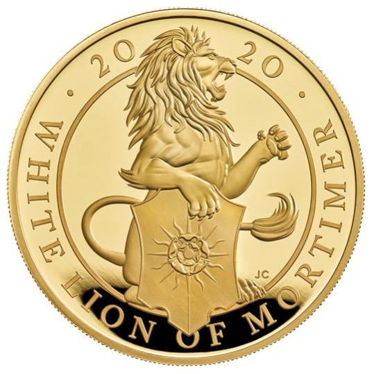 2020 イギリス クィーンズビースト:モーティマーのホワイトライオン 金貨 5オンス プルーフ 箱とクリアケース付き 新品未使用