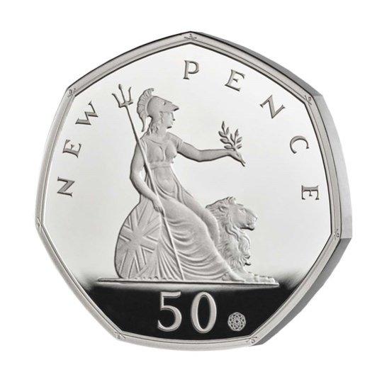 2019 イギリス 50ペンス発行50周年記念 50ペンス銀貨 プルーフ 箱とクリアケース付き 新品未使用