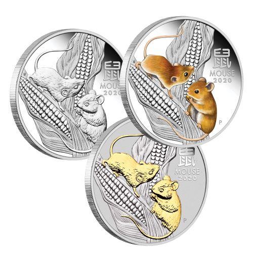 2020 オーストラリア 干支:子年 銀貨 3枚セット 1オンス プルーフ 箱とクリアケース付き 新品未使用