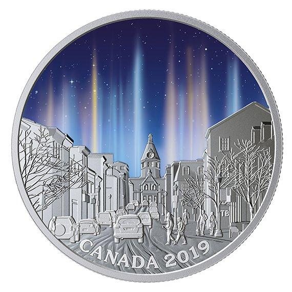 2019 カナダ 空の驚異:光柱 銀貨 1オンス プルーフ 箱とクリアケース付き 新品未使用