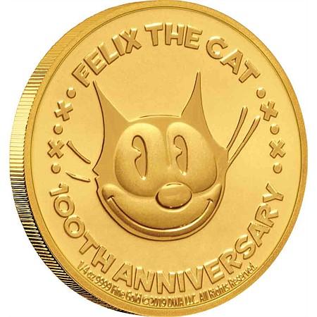 2019 ニウエ フィリックス・ザ・キャット100周年記念 25ドル金貨 1/4オンス プルーフ 箱とクリアケース付き 新品未使用