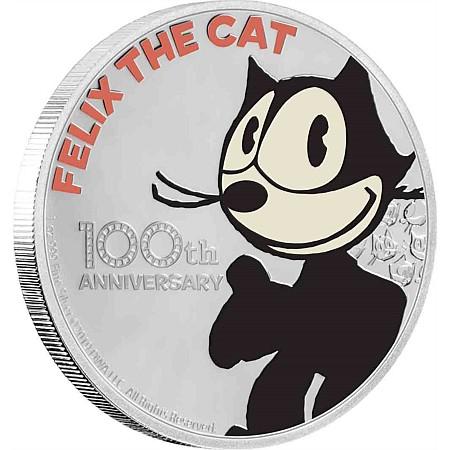 2019 ニウエ フィリックス・ザ・キャット100周年記念 2ドル銀貨 1オンス 彩色プルーフ 箱とクリアケース付き 新品未使用