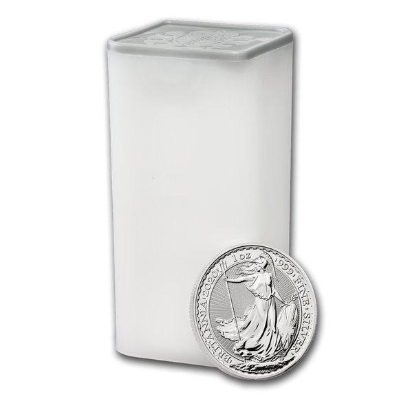 2020 イギリス ブリタニア銀貨 1オンス 【100枚】セット (25枚セットミントロール4個付き) 新品未使用