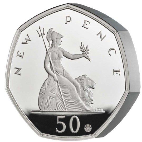 2019 イギリス 50ペンス発行50周年記念 50ペンス銀貨 ピエフォー(厚手型) プルーフ 箱とクリアケース付き 新品未使用