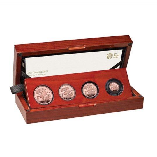 2020 イギリス ソブリン金貨 【4枚】セット プルーフ 箱とクリアケース付き 新品未使用