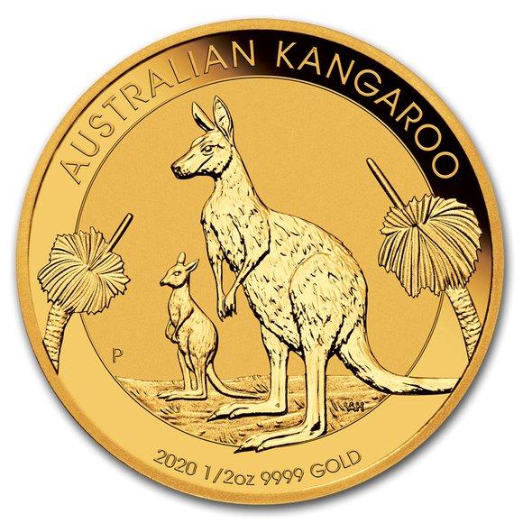 2020 オーストラリア カンガルー金貨 1/2オンス 26mmクリアケース付き 新品未使用