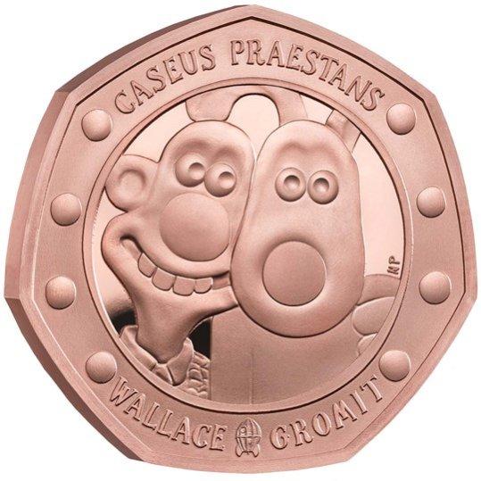 2019 イギリス ウォレスとグルミット 50ペンス金貨 プルーフ 箱とクリアケース付き 新品未使用