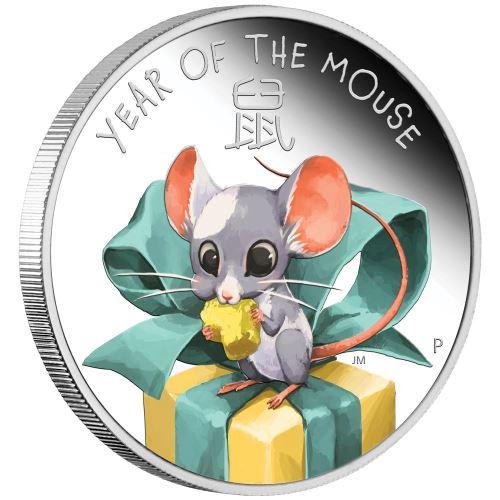 2020 オーストラリア 干支:子年 銀貨 1/2オンス 彩色プルーフ 箱とクリアケース付き 新品未使用
